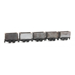 Set of 5 mine cars HOi ( 6,5mm ), scale HO.