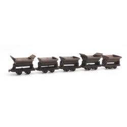 Set of 5 mine cars HOi ( 6,5 mm ), scale HO.