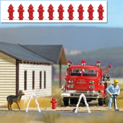 Busch 7766 Hydrants, 10 parts, scale HO.