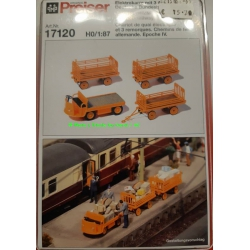 Preiser 17120 Electric vehicle with trailers, scale HO.