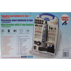 Artesania Latina 27076 Cordless drill with Li-Ion battery and 120 accessories.