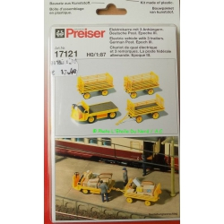 Preiser 17121 Electric vehicle with 3 trailors, scale HO