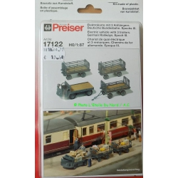 Preiser 17122 Electric vehicle with 3 trailors, scale HO