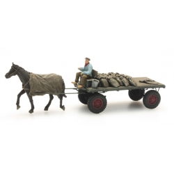 Artitec 387276 Coal-based wagon with horse, scale HO.